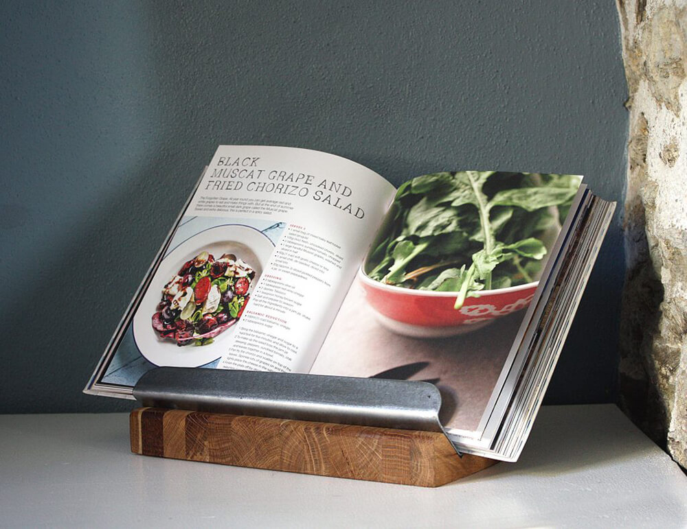 Oak and Steel Cookbook Recipe Stand Holder
